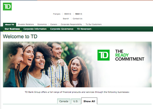 TD:加拿大多伦多道明银行官网