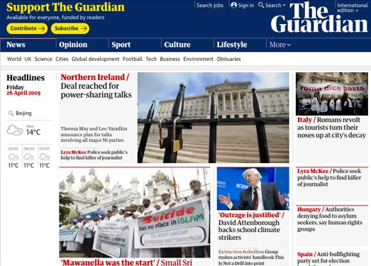 Guardian:英国卫报官网
