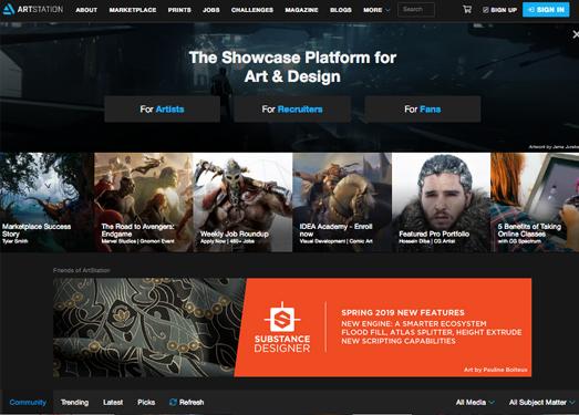 ArtStation:在線CG視覺藝術作品網