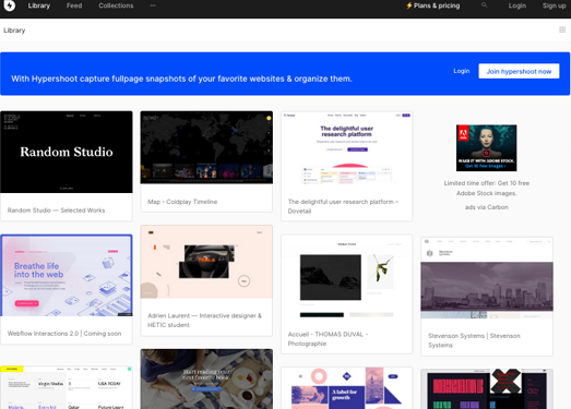 Hypershoot:網頁靈感收集管理工具