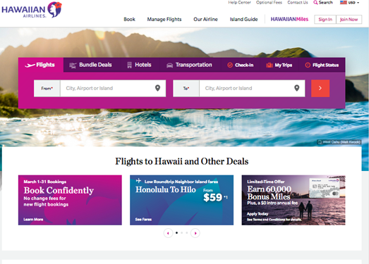 HawaiianAirlines:夏威夷航空公司官网